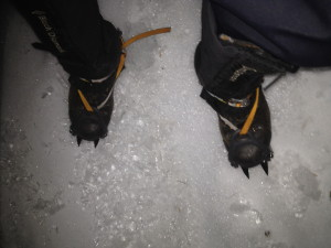 Crampons on an ice feld