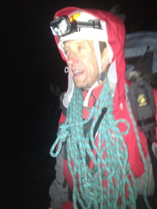 RMRU member Lee Arnson carrying Rope at 3am